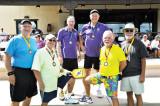 Men's 3.5 Medalists - Center Gold - Marv Richter and Bill Reynolds, on outside Bronze - Bob Hills (Far L) & Rich Hanson (Far R), next in Yellow shirts Silver- Steve Phillips (L) & Bud Fairbanks (R)undefined