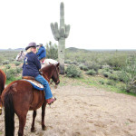 Rebecca Williams follows the group at the Donnelly's D Spur Ranch on March 6, 2013. undefined