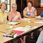The writing class, left to right: Pat Kanitz, Jan Christensen, Sally Carstens, Linda Shannon-Hills, Jan Larkey, Linda Nicholson and Nancy Ferris. undefined