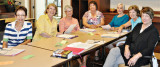 The writing class, left to right: Pat Kanitz, Jan Christensen, Sally Carstens, Linda Shannon-Hills, Jan Larkey, Linda Nicholson and Nancy Ferris. undefined