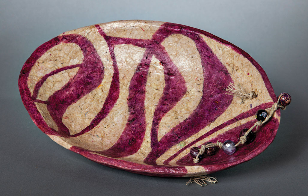 """""""Prickly Pear Concerto,"""" paper mache platter painted with fermented prickly pear juice by Val Bembenek. undefined"""