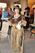Pam Sarlund in her hat and fringed skirt. undefined