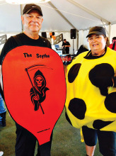 Pickleball paddle and whiffle ball: Bob Hills and Linda Shannon-Hills undefined
