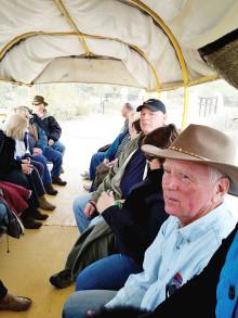 Wagon ride, right to left: Rich Galant, Linda Shannon Hills, Bob Hills, Ellyn Biggs, Marsha Grant, Bill Klappenbach and Mike Nicholson undefined