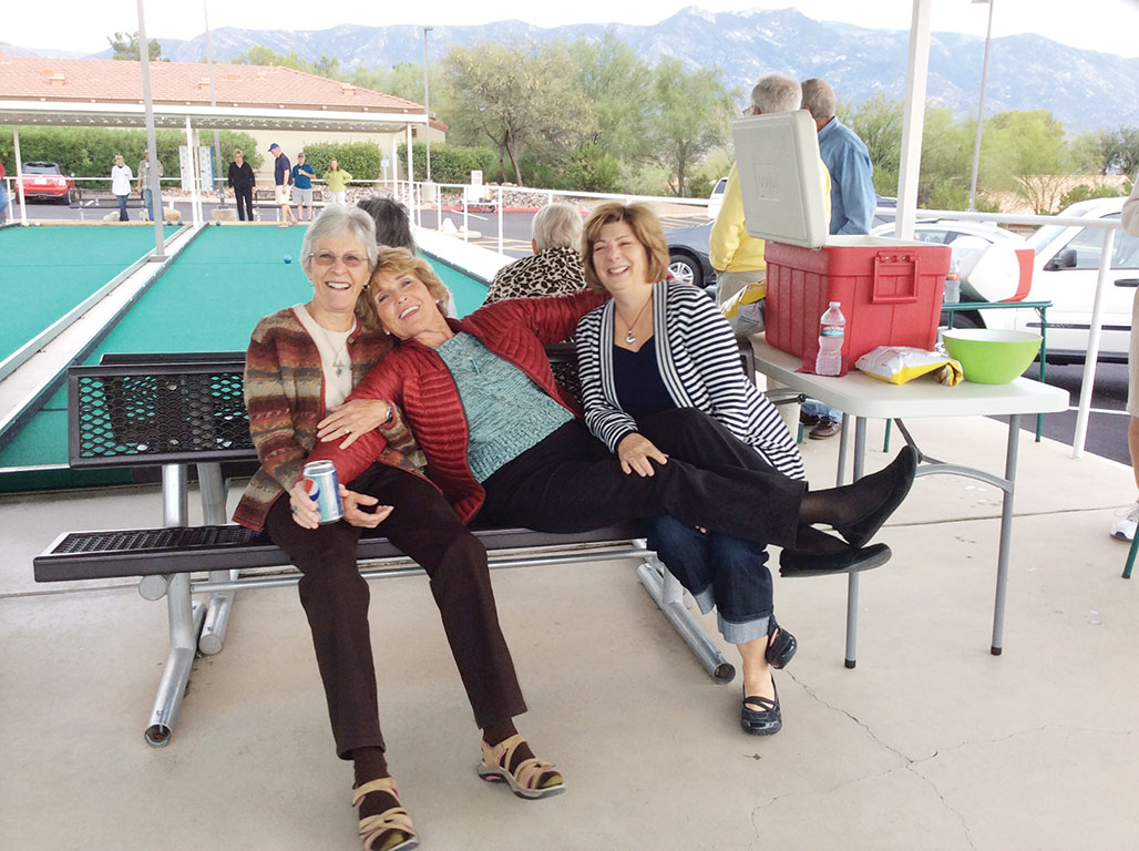 "Bev Hall, Sharon Groth and Sandra Boulter, ""This bocce ball game is exhausting!"" undefined"