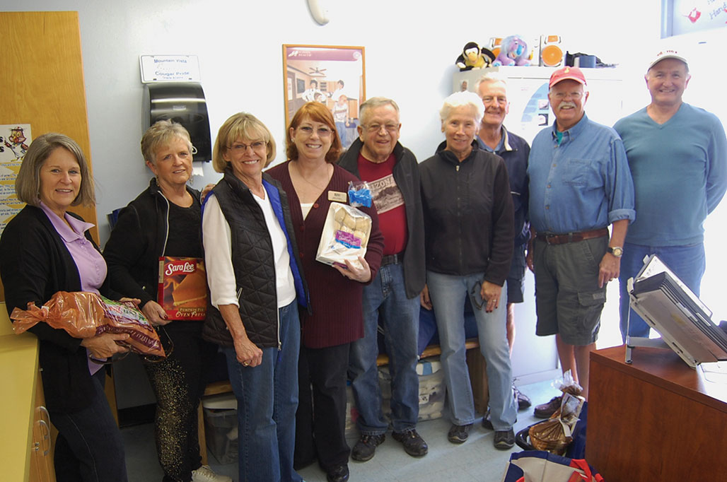 Left to right: Pat Schlote, Merna Oakley, Joan Roberts, Anne Everett, Rich Roberts, Chris and Dan Garand, Steve Groth and Marv Richter. Photo taken by Nan Nasser. undefined