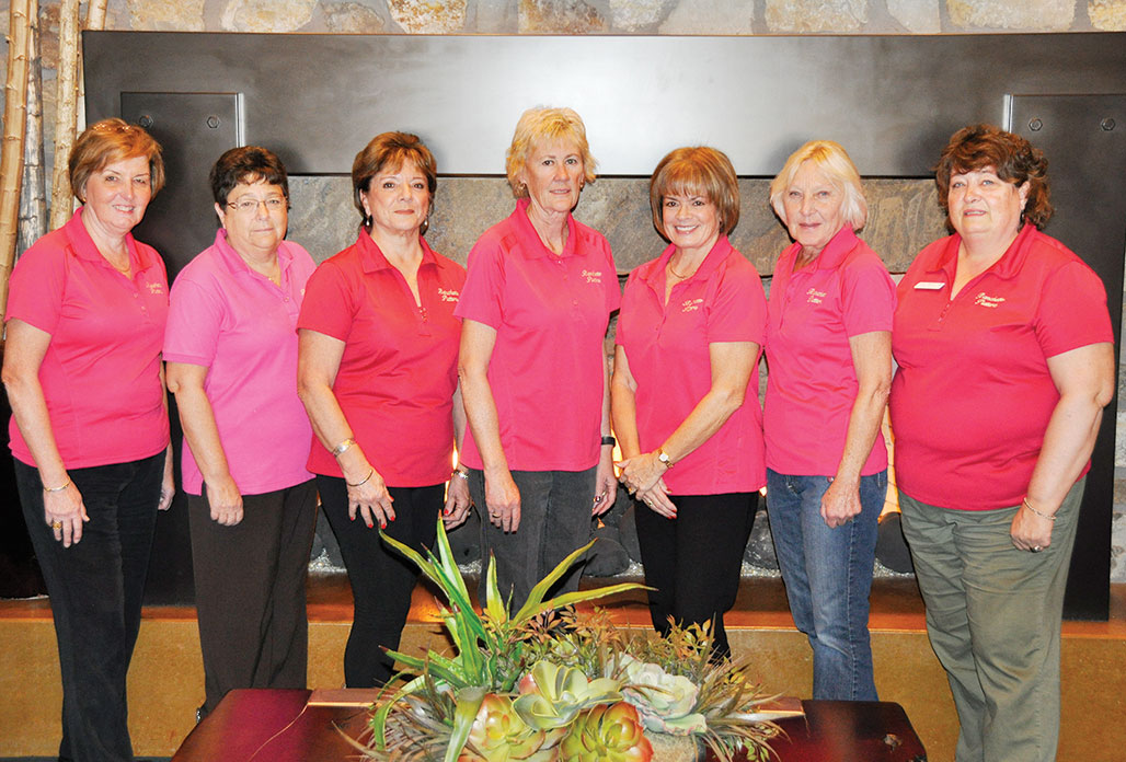 2014 Ranchette Putters Board Members, from left: Linda Harvey, Statistician; Ellyn Biggs, Secretary; Elida Jerman, Treasurer; Linda Bowman and Janice Neal, Co-Presidents; Marilee Fairbanks and Linda Shannon-Hills, Co-Vice Presidents. Photo by Bob Hills. undefined