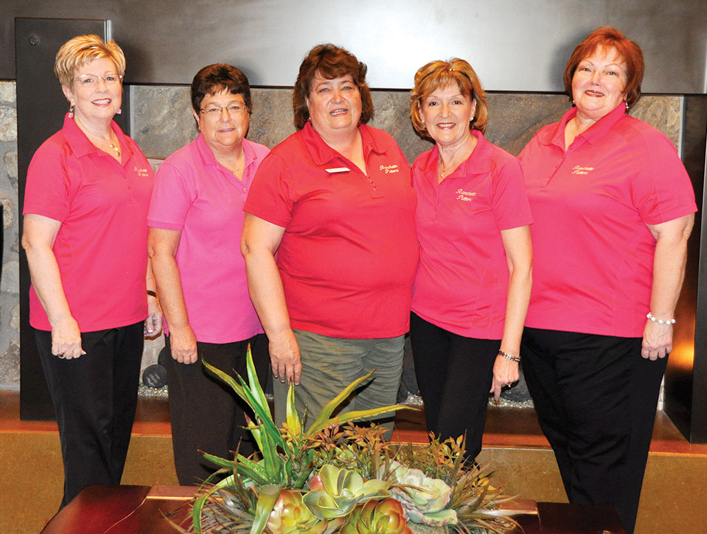 2015 Ranchette Putters Board Members, from left: Jeanne Bianchini, Statistician; Ellyn Biggs, Secretary; Linda Shannon-Hills, President; Linda Nicholson, Vice-President; Mary Schlachter, Treasurer/Membership. Photo by Bob Hills undefined