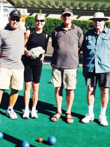 Winners on the left, Denis and Cindy Heck with challengers Niel Christensen and Jerry Martin