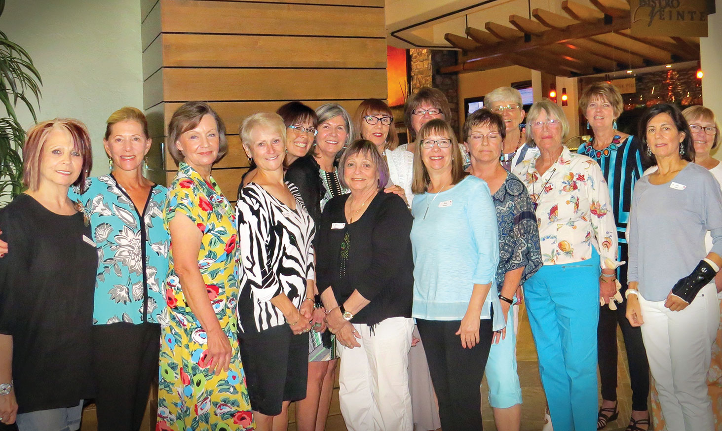 Birthday Club celebrants, left to right: Florence Messer, Marlene Diskin, Kerstin Seifert, Linda Hart, Corine Sturdivant, Sandy Noble, Roberta Bowers, Raeone Gilison, Nancy Galant, Betty Pearce, Susan Engbretson, Wendy McMillan, Betty Johnson, Mary Ann Nemecek, Lynn Fidler and Cyndie Grover.