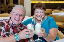 Tom and Carol Sorenson enjoying a drink