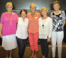 Birthday celebrants, left to right: Wilma Hopkins, Sherry Weiss, Carol Kramer, Sharon Groth and June Nichols.