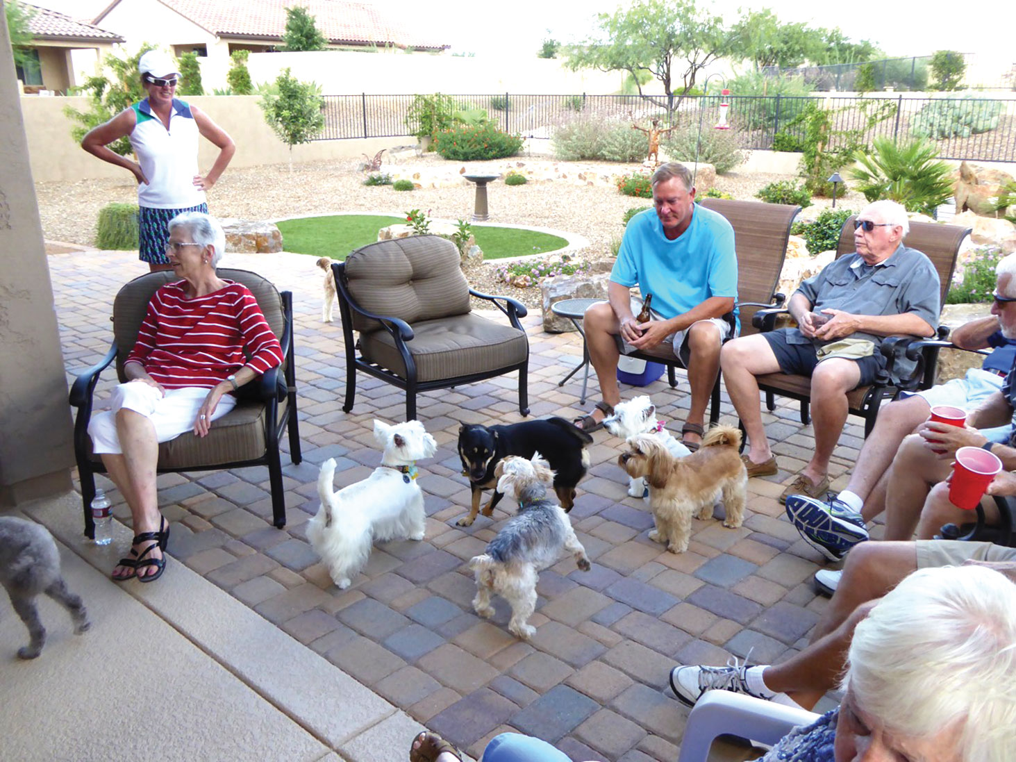 Left to right: Nancy Hopkins, Alex Anna (standing), Steve Jendrzejewski and Gerry Martin; dogs, left to right back row: Rocky, Abigale and Stella; front row: Scupper and Riley