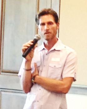 The speaker, Rodyon Jones, addressing the luncheon attendees