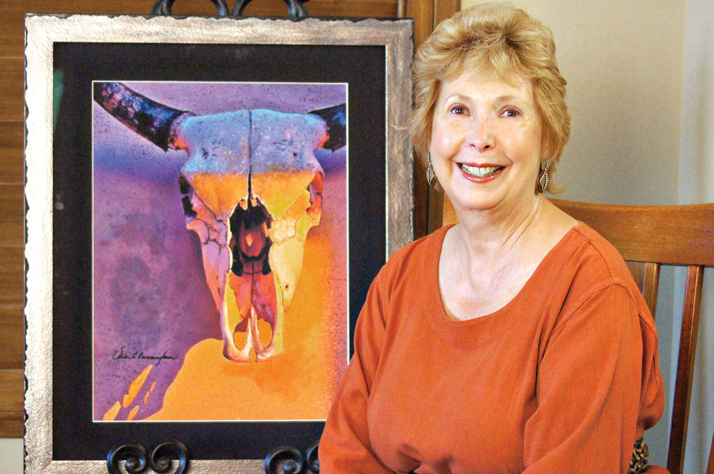 """Vicki Cunningham's mixed media, """"No Bull At Sunset."""" Photo by J. Cohen and V. Cunningham"""