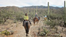 Doug and Betty Pearce enjoying the horseback ride at last year's Chuck Wagon dinner ride at Tanque Verde Ranch.