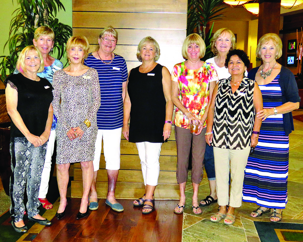 "Celebrating their birthdays at the luncheon are, left to right: Judi Slavin, Beena Ordahl, Willa Karp, Barbara Martin, Jean-Elaine Parfet, LeAnn Christianson, Cathy ""CJ"" Kerley, Mary Hoover and Helga Stone"