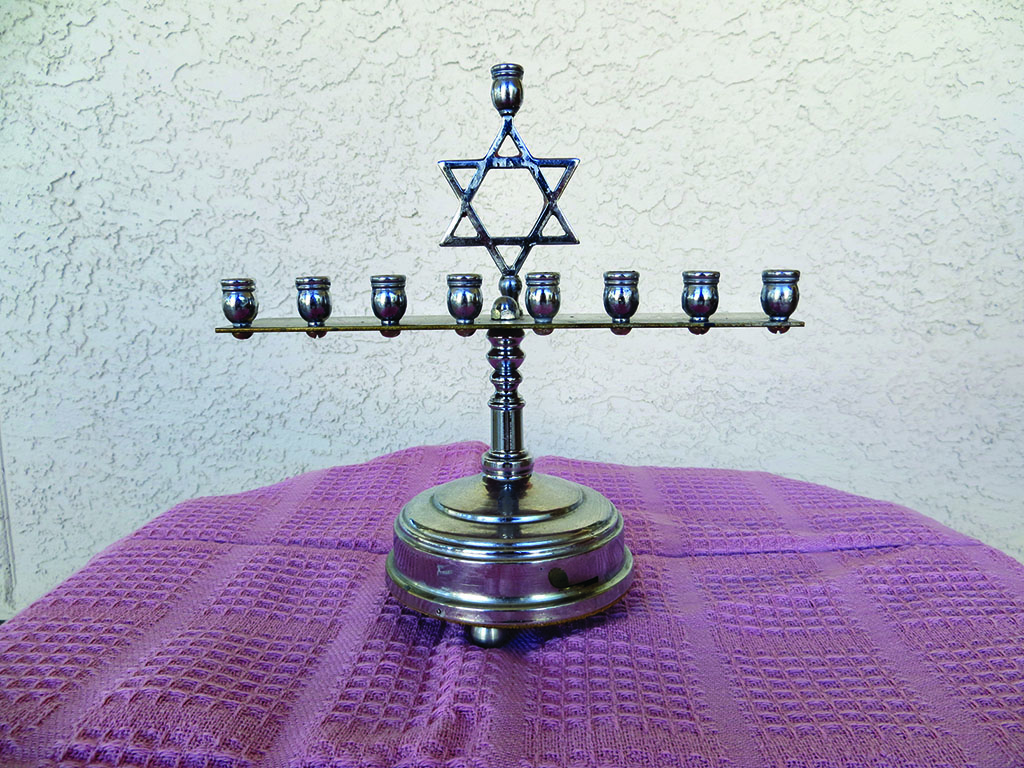 Menorah given to SBCO member upon her engagement 59 years ago. Photo by Ken Siarkiewicz