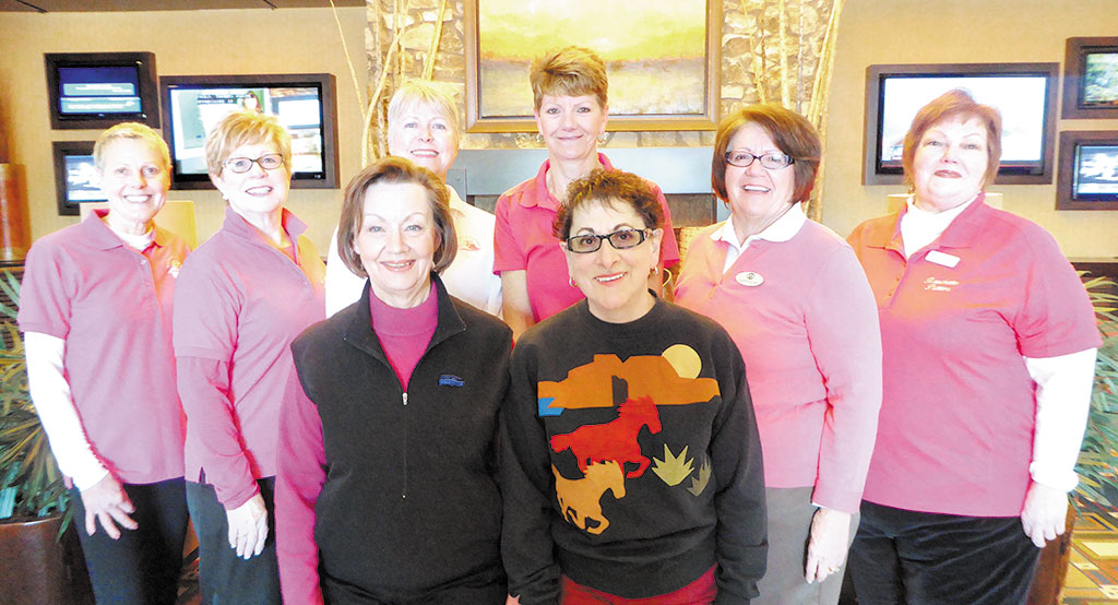 Back row, left to right: Cindy Heck, Jeannie Bianchini, Deb Lawson, Karen McIver, Nancy Galant and Mary Schlachter; front row: Kerstin Seifert and Mary Lou Glazer; photo by Jean Morgan
