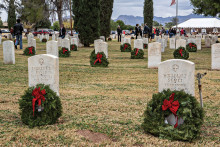 Wreaths at the graves in the cemetery