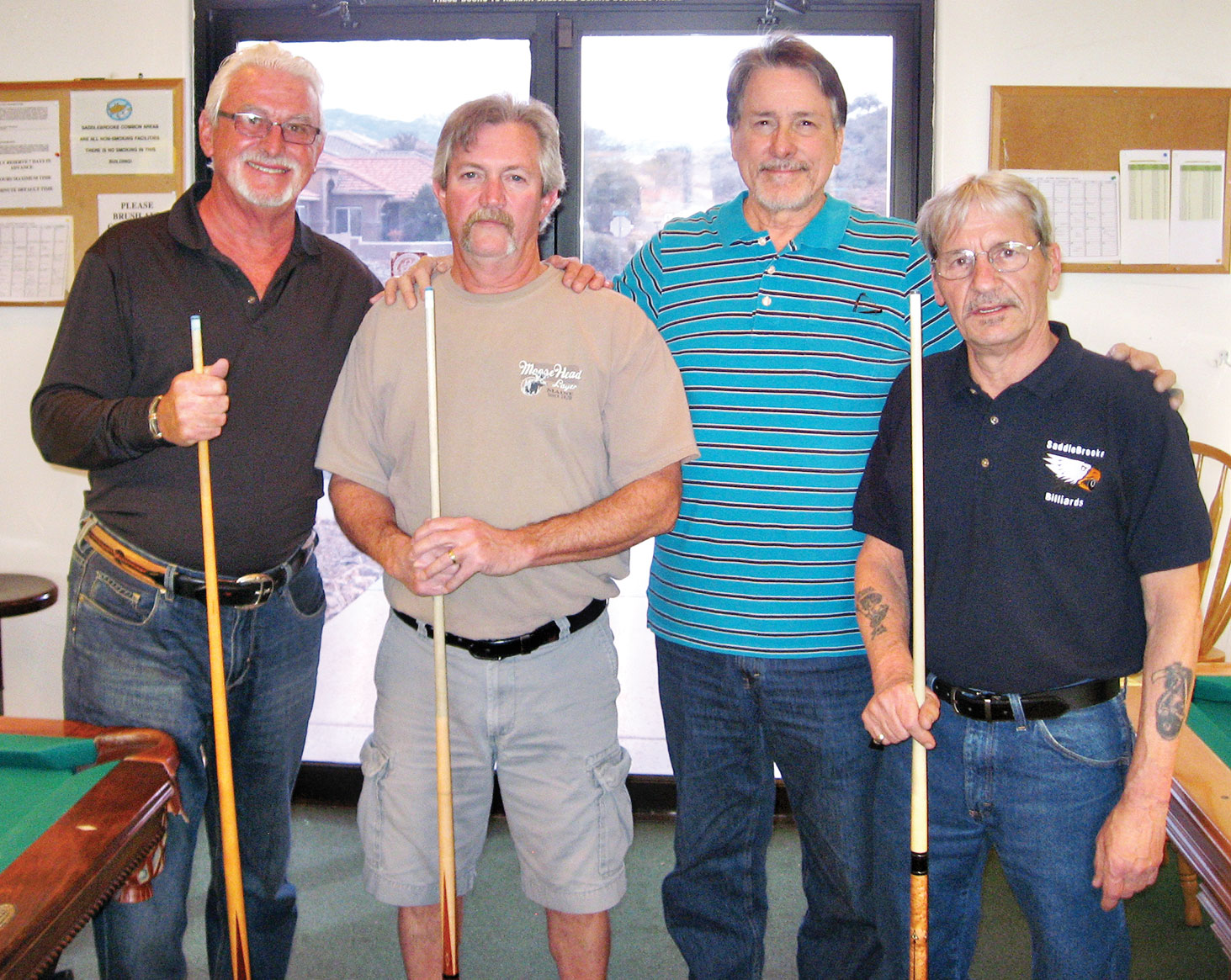 """Left to right: 1st place Terrence Sterling and Dominic """"The Doctor"""" Borland; 2nd place Tom """"Half Jacket"""" Barrett and Joe """"Fast Eddie"""" Giammarino"""