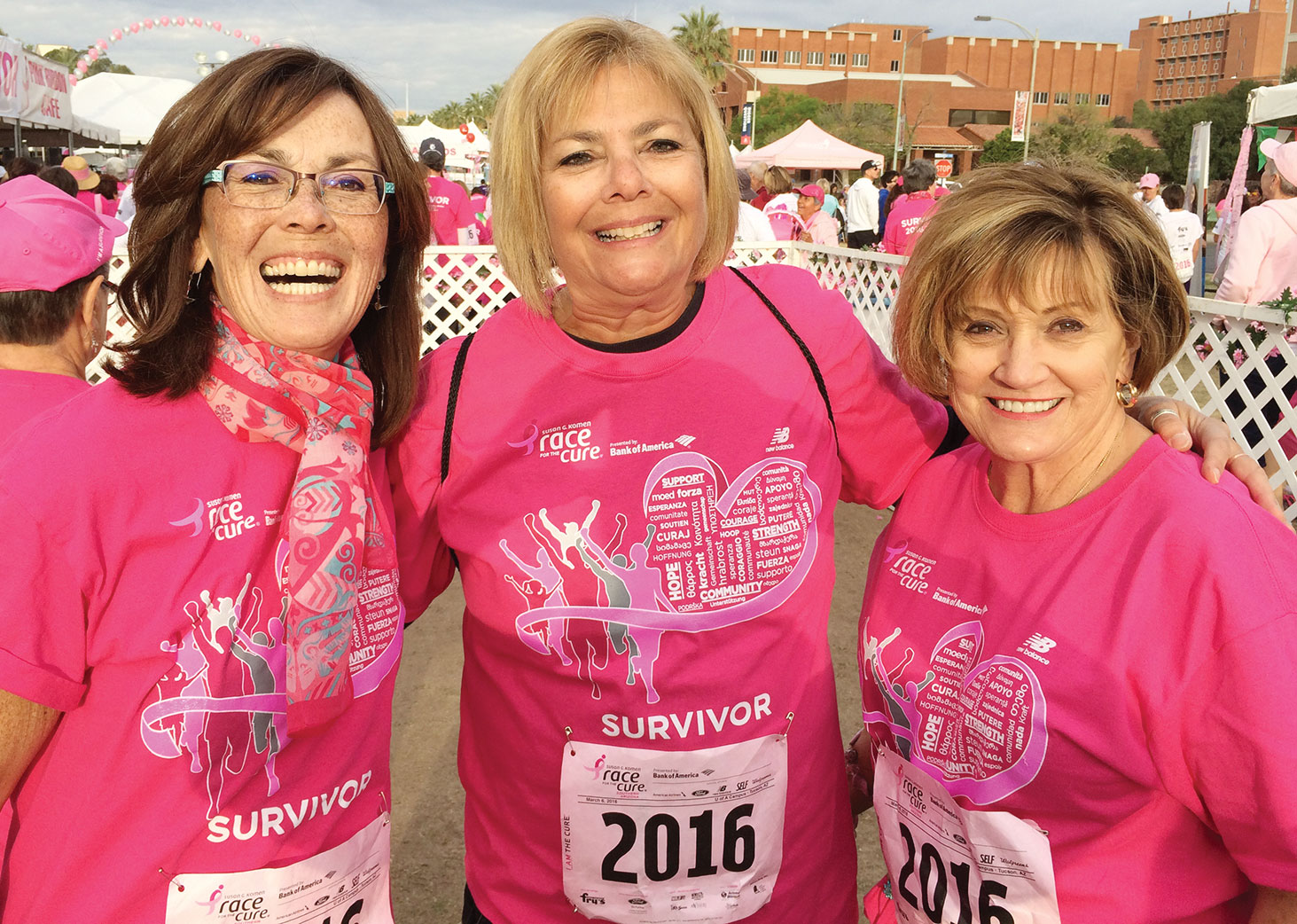Cancer survivors, left to right: Corine Sturdivant, Sandy Jessop and Lee Rinke
