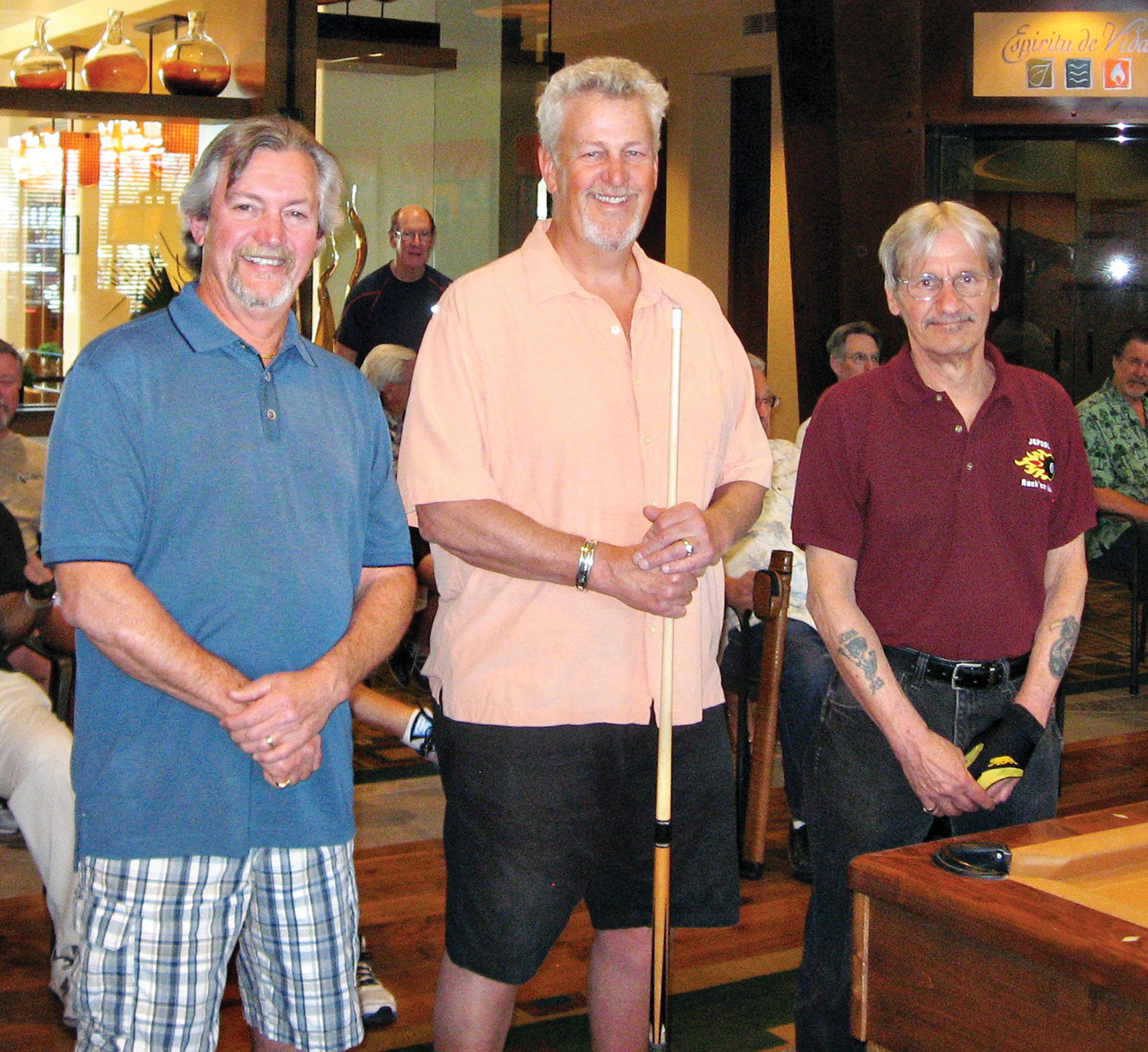 Dominic Borland (TD), Jay Clary, winner of the cue/case from Linsay's Quality Cues, and Joe Giammarino (TD)