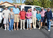 Left to right: Gary Boydstun, Carol Fielding, Ted Widerman, Gene Lawrence, Bud and Marilee Fairbanks, Mike Fielding, Pamela and Bob Wample and Bob Johnson