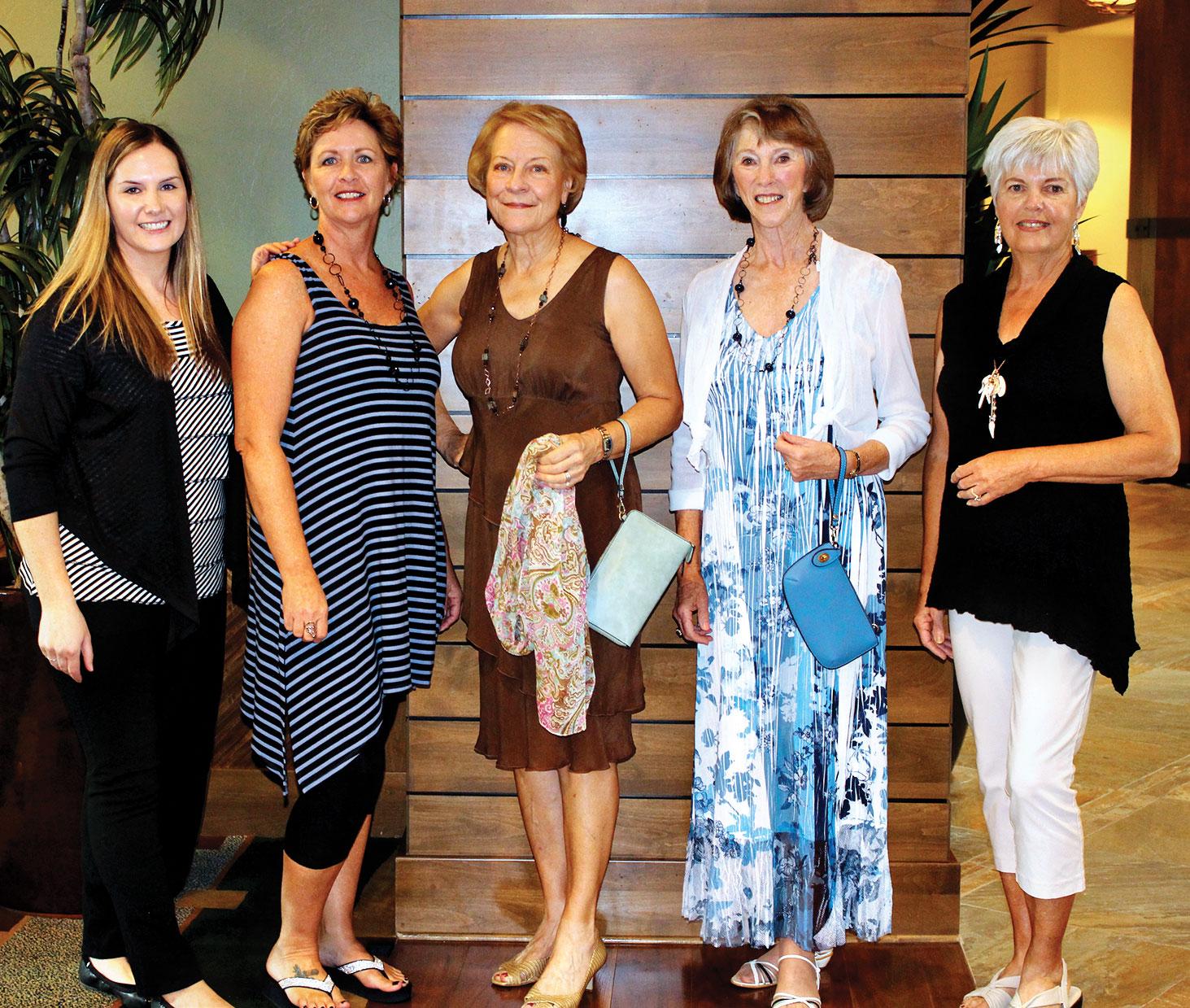 Left to right: Elaine Macedo from Nadine's; Models Stephanie Henricks, Joanna Hill-Devine and Sidonia St.Germaine; Dee Sanders, JEWEL founder.