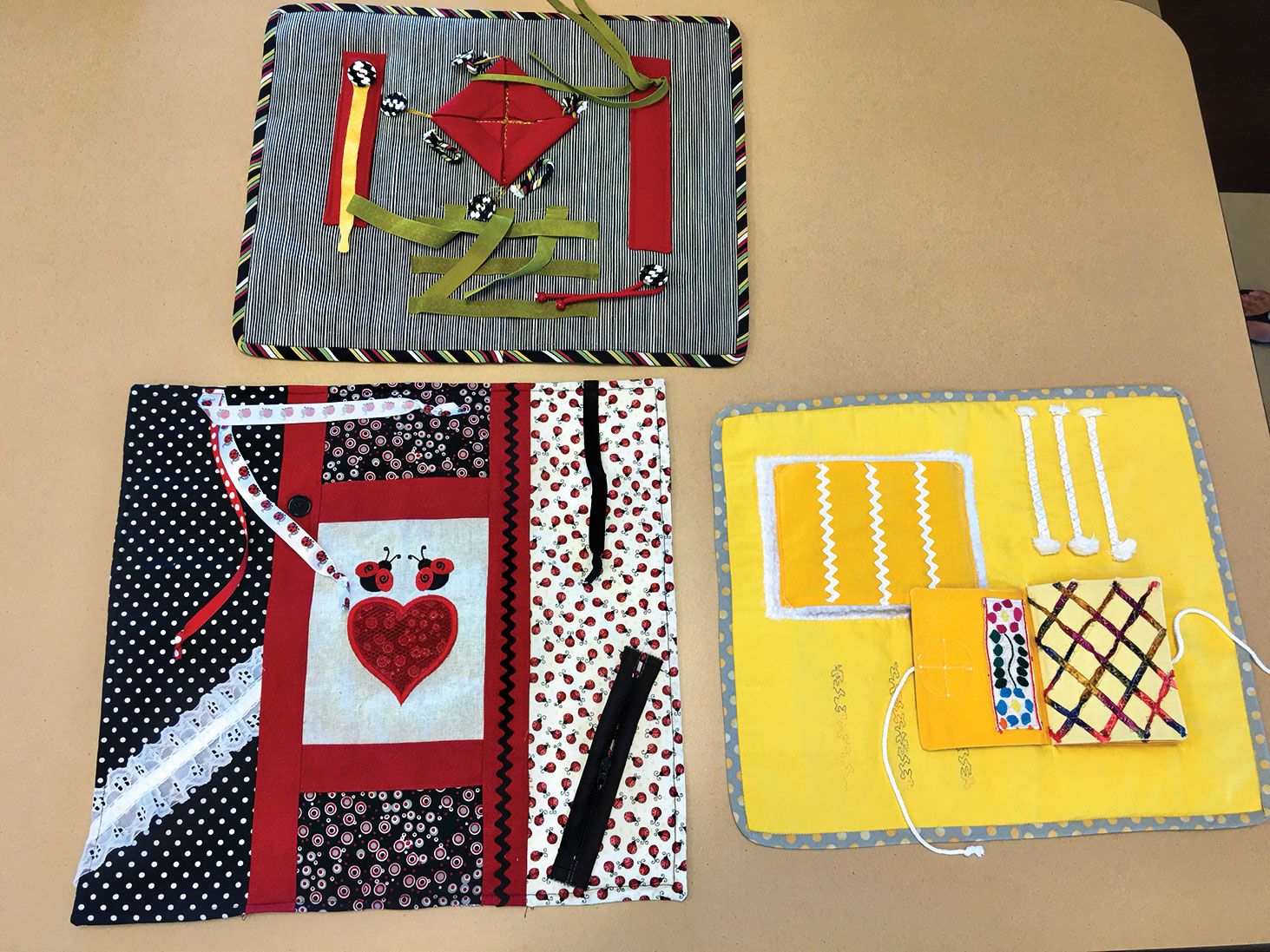 A sample of the Fidget Quilt made by Kerstin Seifert and Carol Smith.