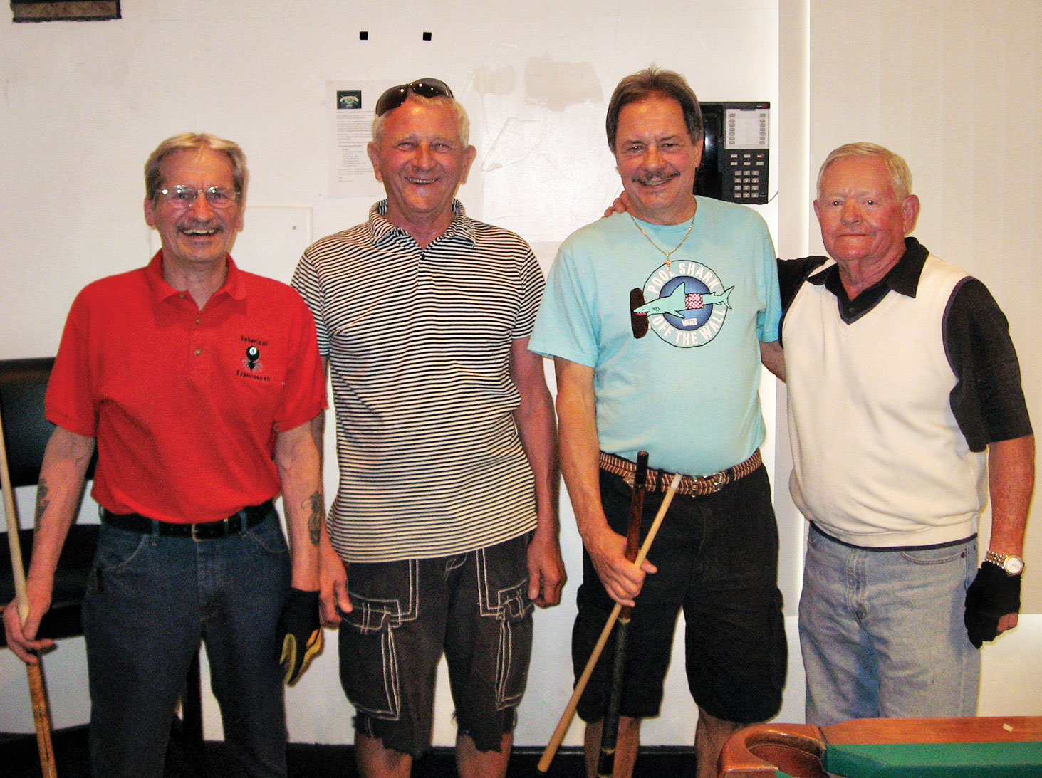 "Left to right: Joe ""Fast Eddie"" Giammarino, Tom ""Ski"" Kaliski, Paul ""Bankster"" Callas and John ""Hole in One"" McKinney"