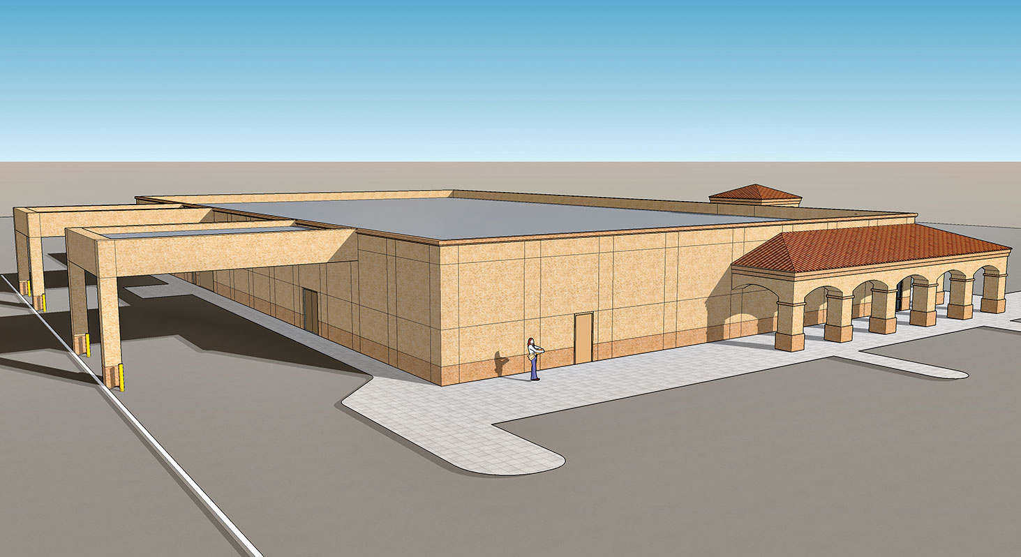 Rendition of the changes to the Golden Goose Thrift Shop, which will include canopies over the receiving areas.