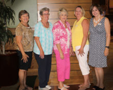 New members of the SBR Women's Club, left to right: Karen Malek, Kathy Nedder, Irene Keil, Sue Monson and Carolee Bailey