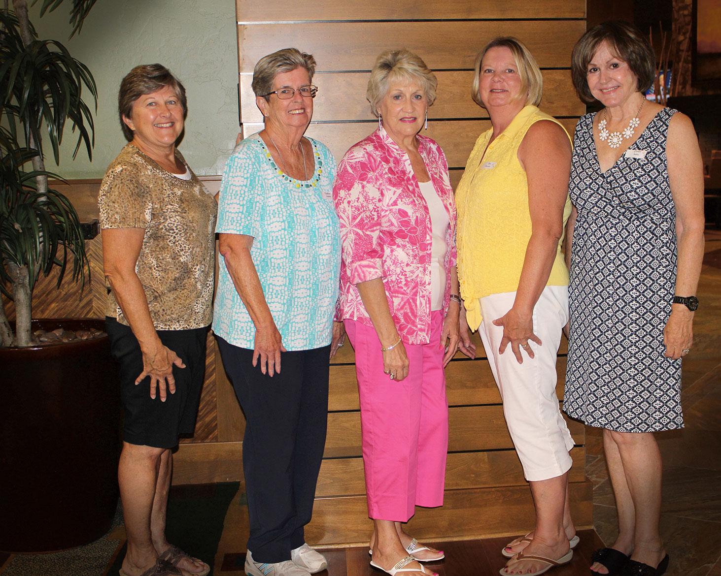 New members of the SBR Women's Club, left to right: Karen Malek, Kathy Nedder, Irene Keil, Sue Monson and Carolee Bailey