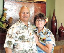 Deena and Ken Robinson in their California shirts