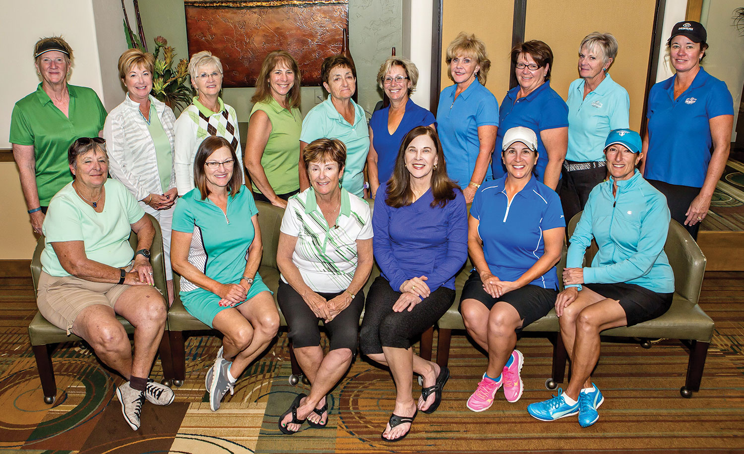 Green Team, left to right front row: Cheri Alfrey, Jeanne Osterlund, Mary Snowden; back row: Jeanne Jensen, Colleen Carey, Marlyce Myka, Carol Mihal, Sue Wells; Blue Team left to right front row: Brenda Armenia, Janice Mihora, Pilar Borm; back row: Theresa Hect, Bonnie Stark, Nancy Galant, Connie Klappenbach, Alex Anna.