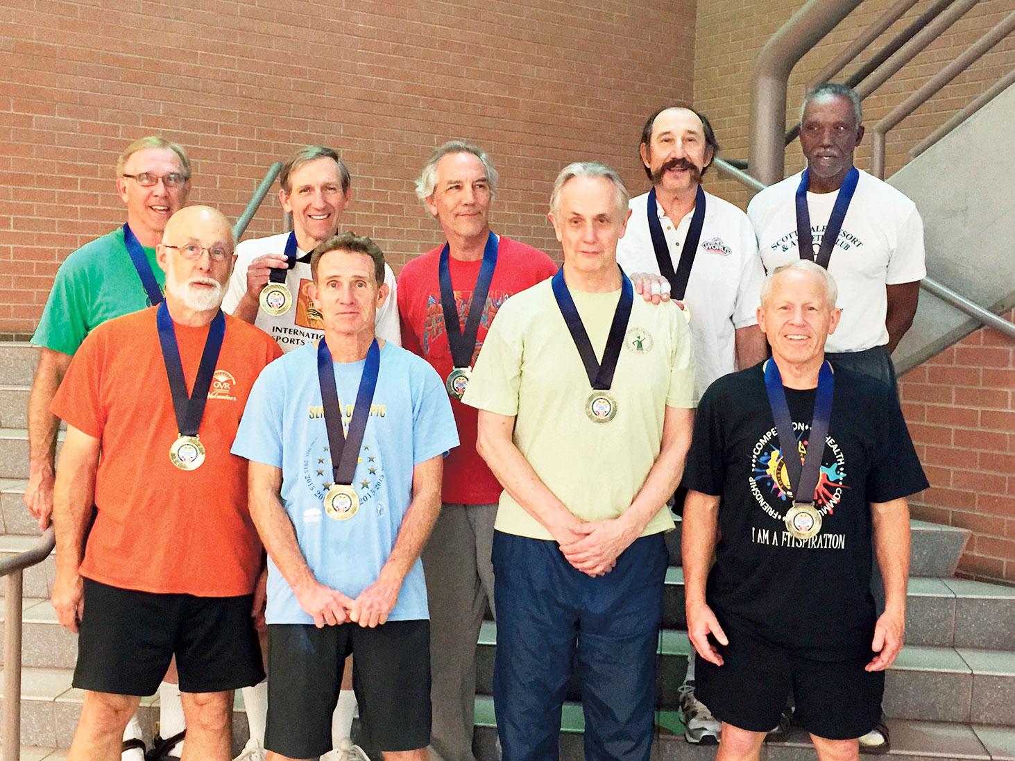 Don Williams, back row, left, with his Desert Thunder team at the Arizona Senior Olympics Gold Medal presentation