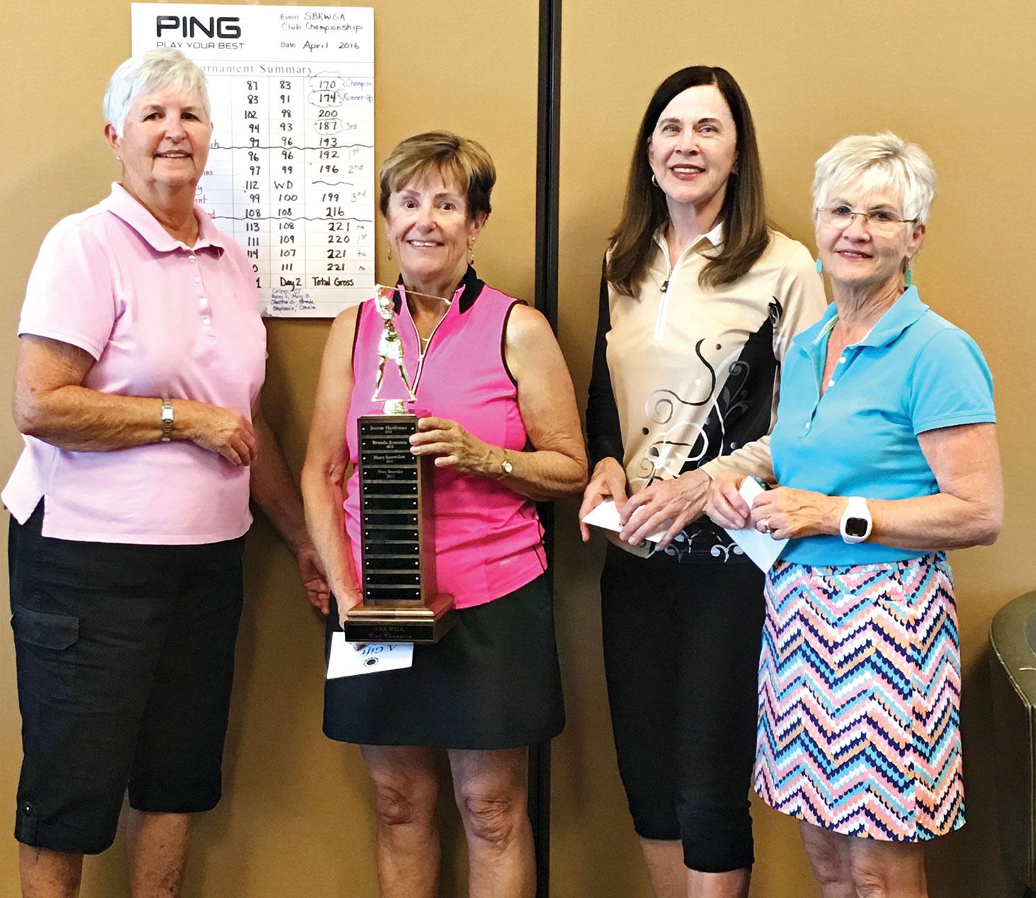 SBRWGA Club President Joyce DeYoung; Club Champion Mary Snowden; Brenda Armenia; Marlyce Mycka