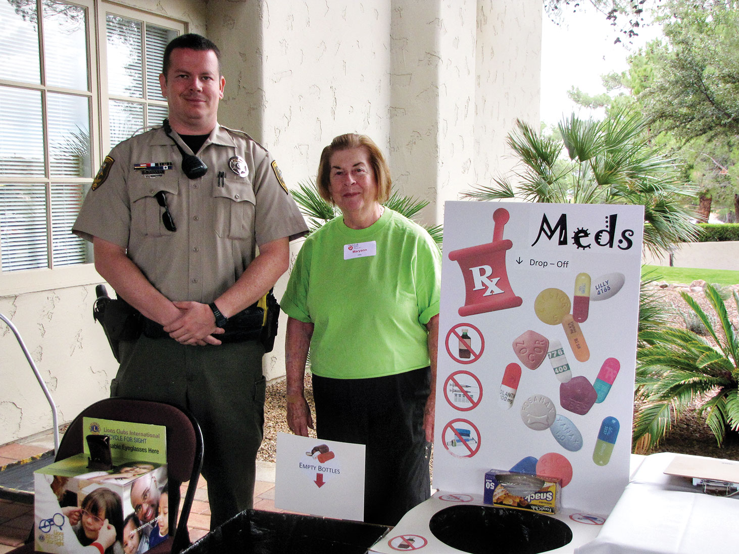 Bring expired meds and old eyeglasses for collection at the Health Fair.