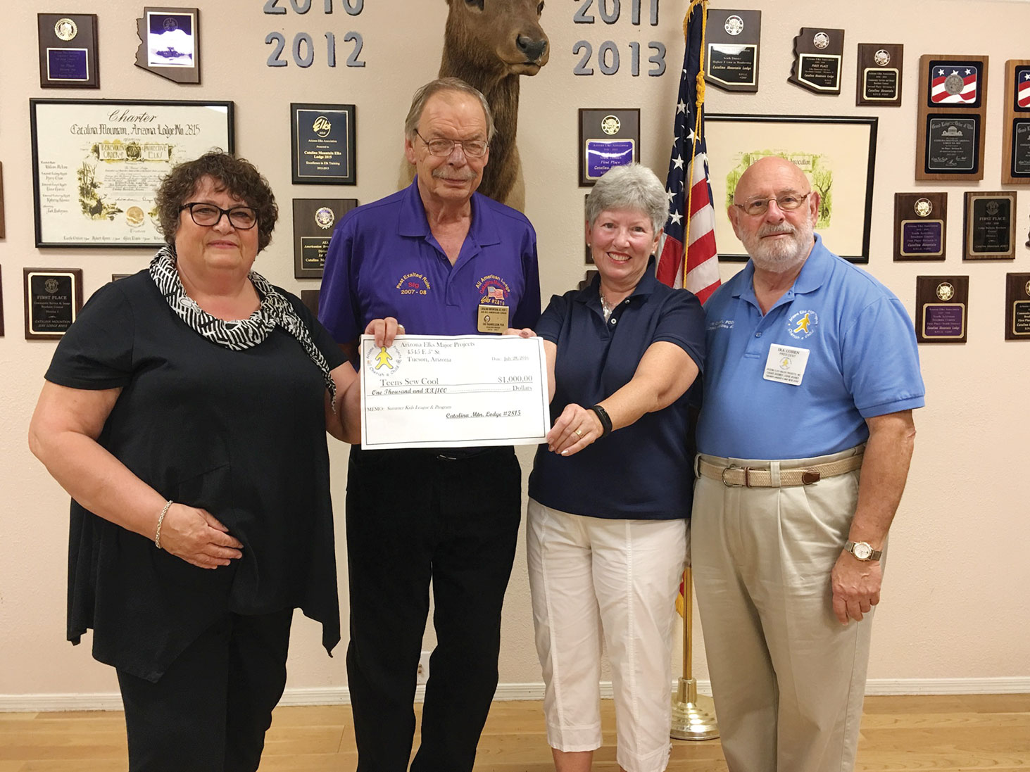 Left to right: Linda Shannon-Hills, Sig Danielson, Exalted Ruler Elks, Kathleen Morgan Squires and Ira Cohen, Arizona Elks Major Projects