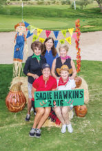 Sadie Hawkins Committee, front row: Alex Anna and C.J. Kerley; second row: Mindy Hawkins and Colleen Carey; back row: Brenda Armenia