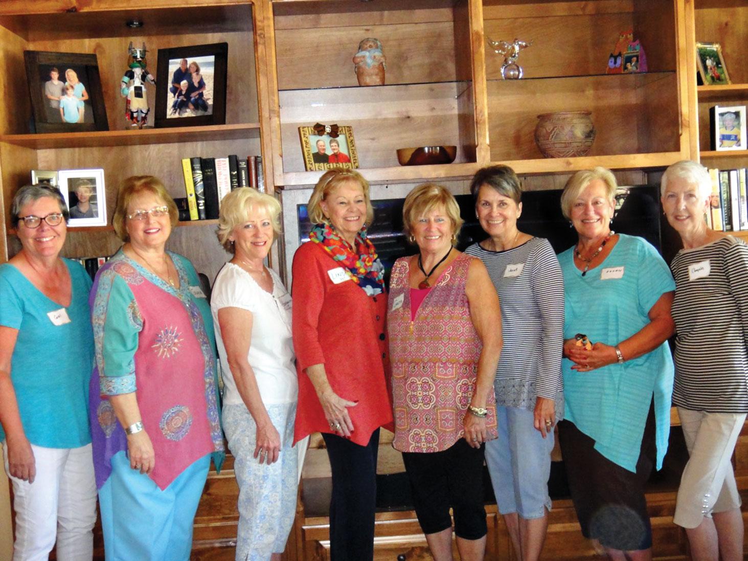 New members, left to right: Carol Thompson, Gwen Dossett, Georgeann Becker, Linda Whittington, Greta Von Wrangel, Janet Mastro, Susan Mason and Angela Gothard