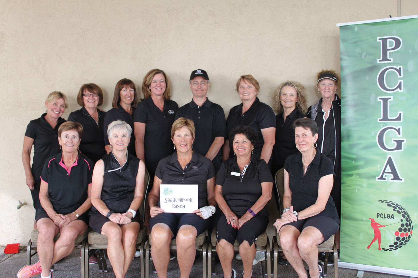 SaddleBrooke Ranch Women's Golf Association Robson Cup Team, front row: Mary Snowden, Marlyce Myka, Lorraine Smith, Mary Hoover, Stephanie Gaskill; back row: Marion Ewing, Nancy Gallant, Pilar Borm, Alex Anna, Mike Jahaske, Jean Cheszek, Carole Ericksen, Jeanne Jensen