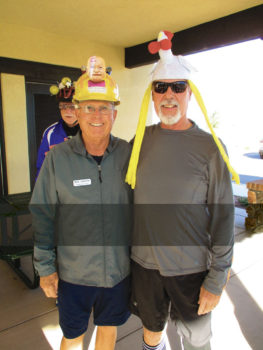 "Bob Johnson and Ken Cook in the ""crazy"" hats"