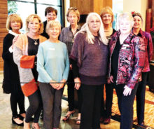 New SBR Women's Club members, left to right front row: Lisa Brown, Kathy Tossey, Bonnie Goldman, Barb Warnell; back row: Judy Dodson, Sue Cook, Susan Hastings, Barbara Miller, Maria Astaire; photo by Marlene Diskin