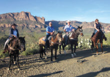 Left to right: Rebecca Williams, Doug Rinke, Don Williams and Lee Rinke enjoy a beautiful view of the Superstition Mountains.