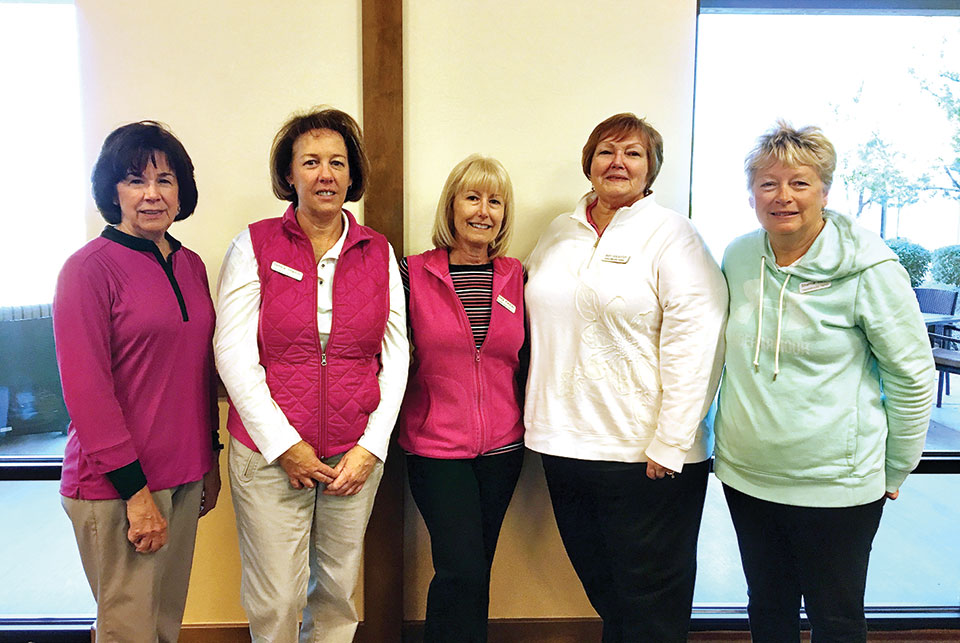 Left to right: Evie Thompson, Debbie Shelton, Debby Felzien, Mary Schlachter and Sherrie Hawk