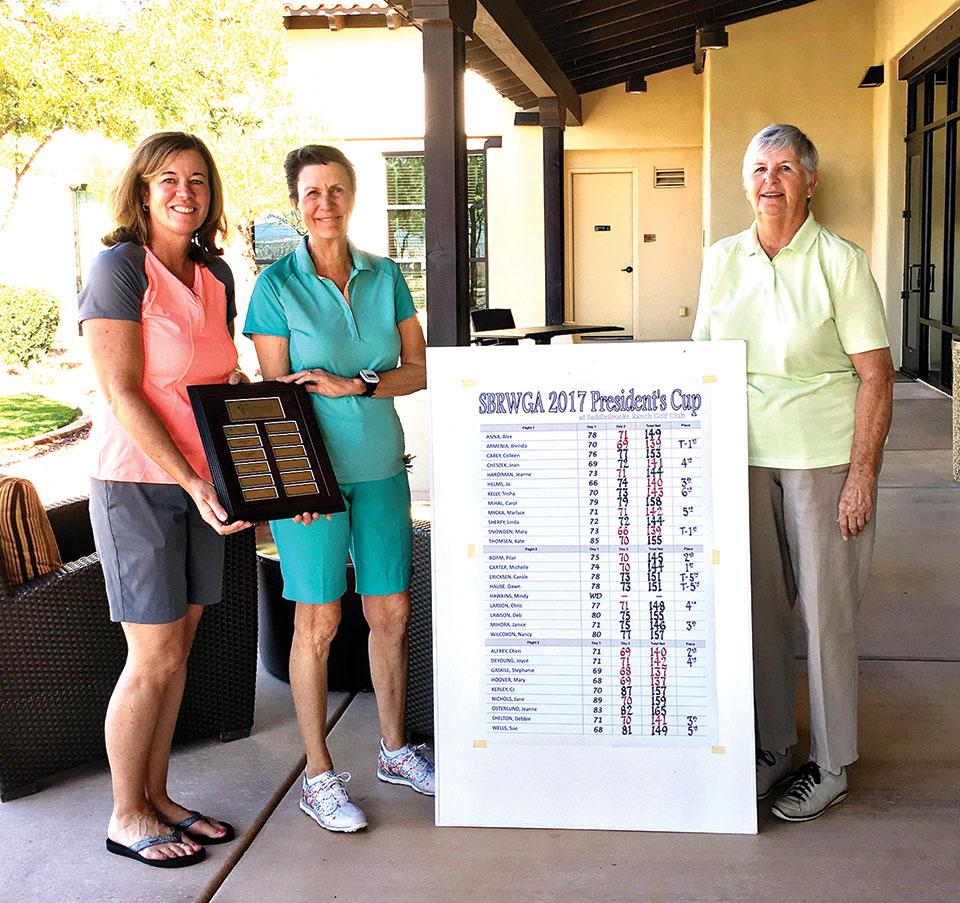 Tournament Chair Alex Anna, President Cup Winner Stephanie Gaskill and President Joyce DeYoung