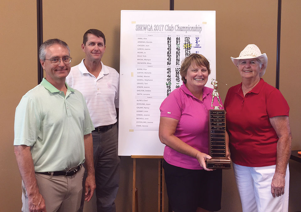 Champion, left to right: Mike Jahaske, Ken Steinke, SBRWGA Champion Jean Chesek, SBRWGA President Joyce DeYoung