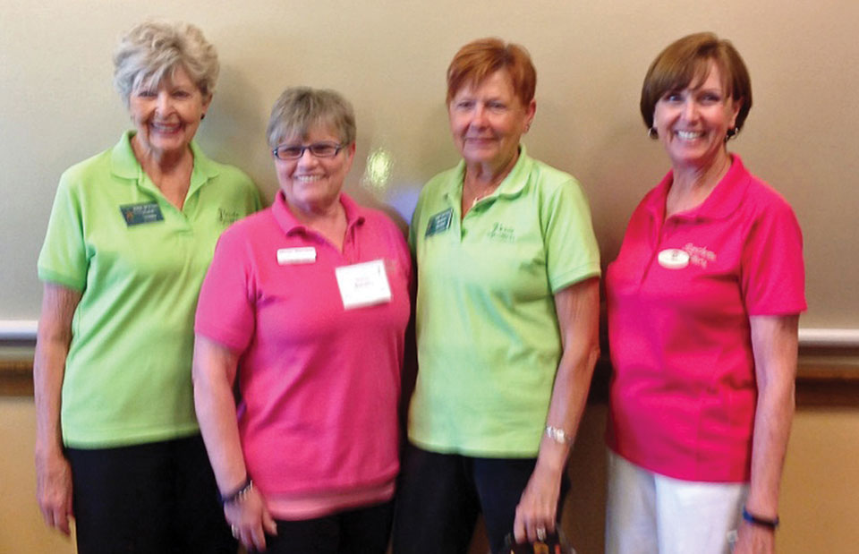 First place team, 159: Marilyn Polatas, Marian Bianchini, Elaine Stamm and Linda Thomson; photo by Deb Lawson